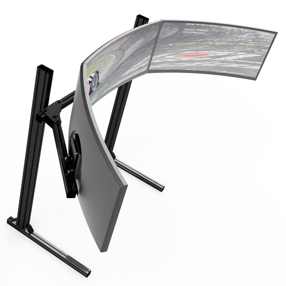 shop.gperformance.eu - Sim-Lab Triple monitor stand - VESA 75_100 - black - iso view 2 - G-Performance