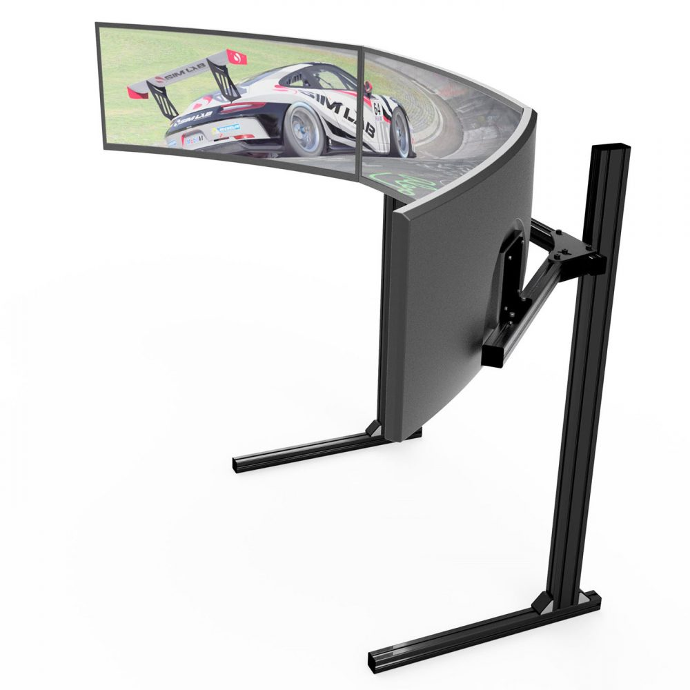 shop.gperformance.eu - Sim-Lab Triple monitor stand - VESA 75_100 - black - iso view - G-Performance
