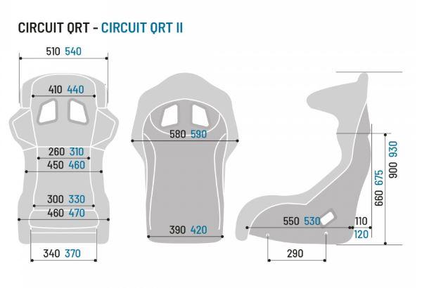 shop.gperformance.eu - Sparco Circuit II QRT simracing seat - dimensions - G-Performance