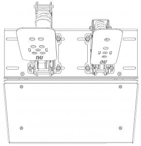 shop.gperformance.eu - Heusinkveld Sim Pedals Sprint Baseplate top drawing 2-pedal set
