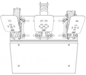 shop.gperformance.eu - Heusinkveld Sim Pedals Sprint Baseplate top drawing 3-pedal set