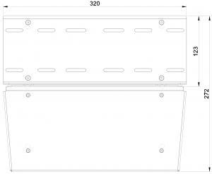 shop.gperformance.eu - Heusinkveld Sim Pedals Sprint Baseplate top drawing dimensions