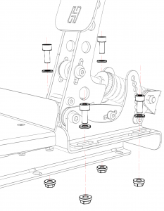 shop.gperformance.eu - Heusinkveld Sim Pedals Sprint Baseplate top drawing spring exploded view