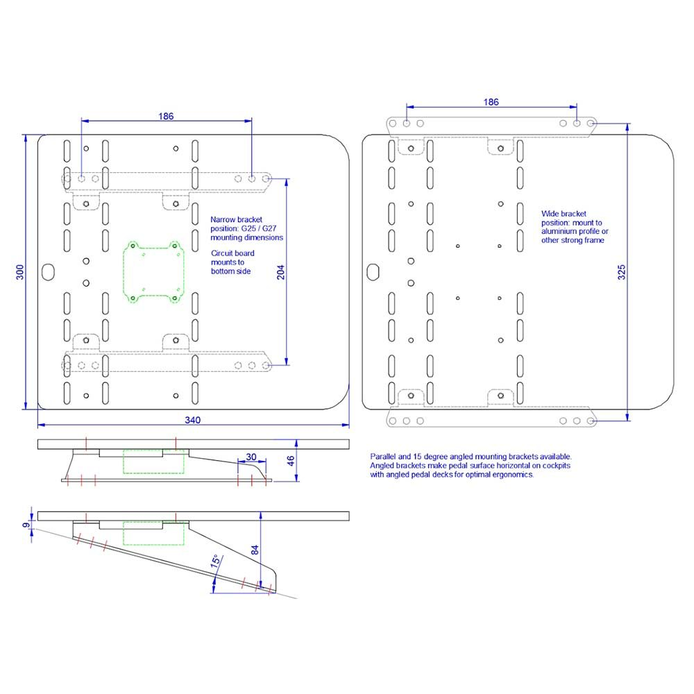 shop.gperformance.eu - Heusinkveld Sim Pedals Ultimate_Pro Baseplate drawing