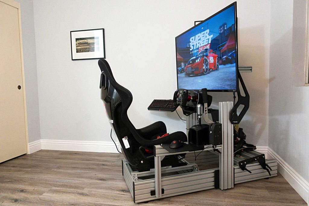 shop.gperformance.eu - Sim-Lab Integrated Single Monitor Mount installed on P1 chassis