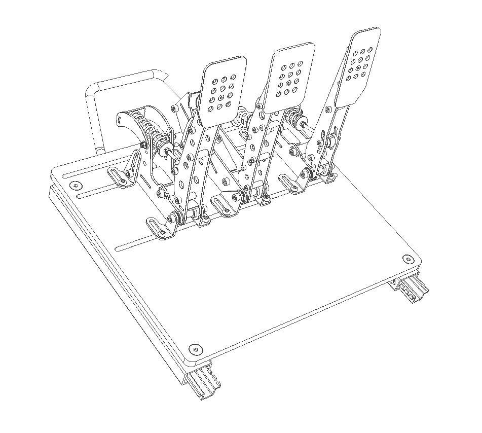 shop.gperformance.eu - Sim-Lab pedal slider baseplate pre Heusinkveld Pro Ultimate drawing iso view