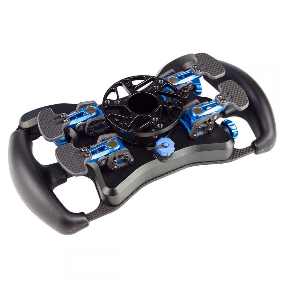 shop.gperformance.eu - Cube Controls Formula Pro professional sim racing carbon fibre composite steering wheel with anodized machined aluminium knobs bottom back
