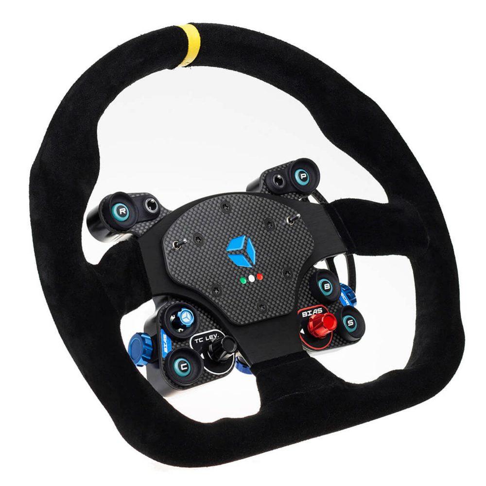 shop.gperformance.eu - Cube Controls GT Pro MOMO Classic - carbon fiber sim racing eSports wheel with MOMO rim - iso view -G-Performance