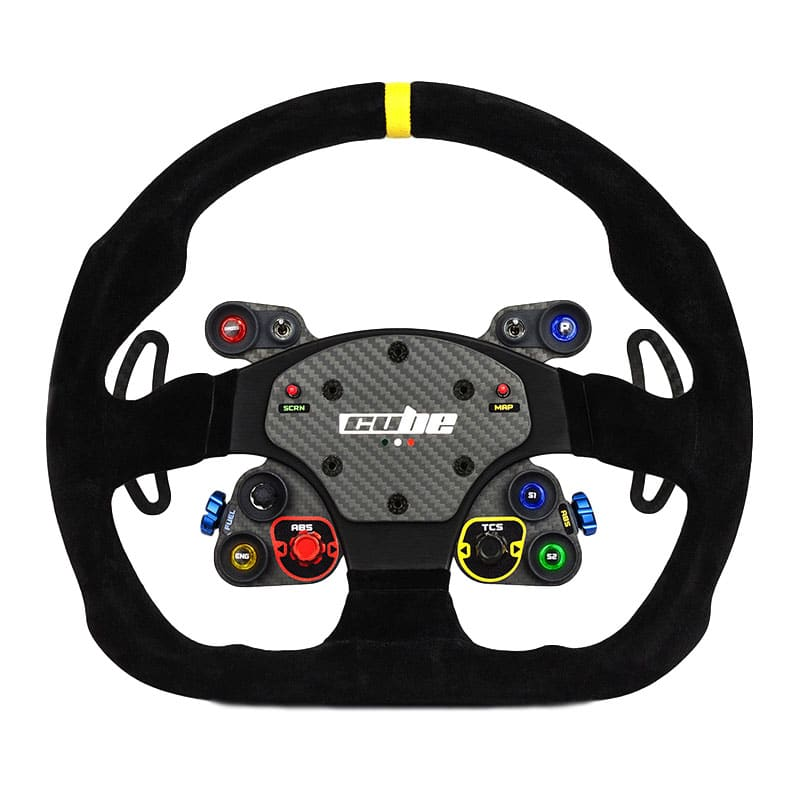 shop.gperformance.eu - Cube Controls GT Pro MOMO Professional Sim Racing Steering Wheel with backlit buttons front view