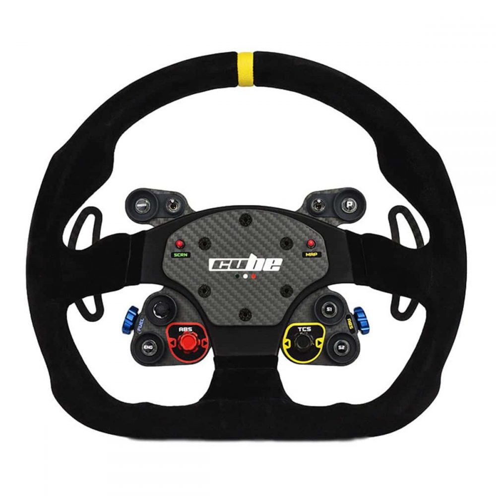 shop.gperformance.eu - Cube Controls GT Pro MOMO Sim Racing Steering Wheel backlit buttons off - for Direct Drive Wheel, Fanatec, Accuforce, Thurstmaster, Logitech front view