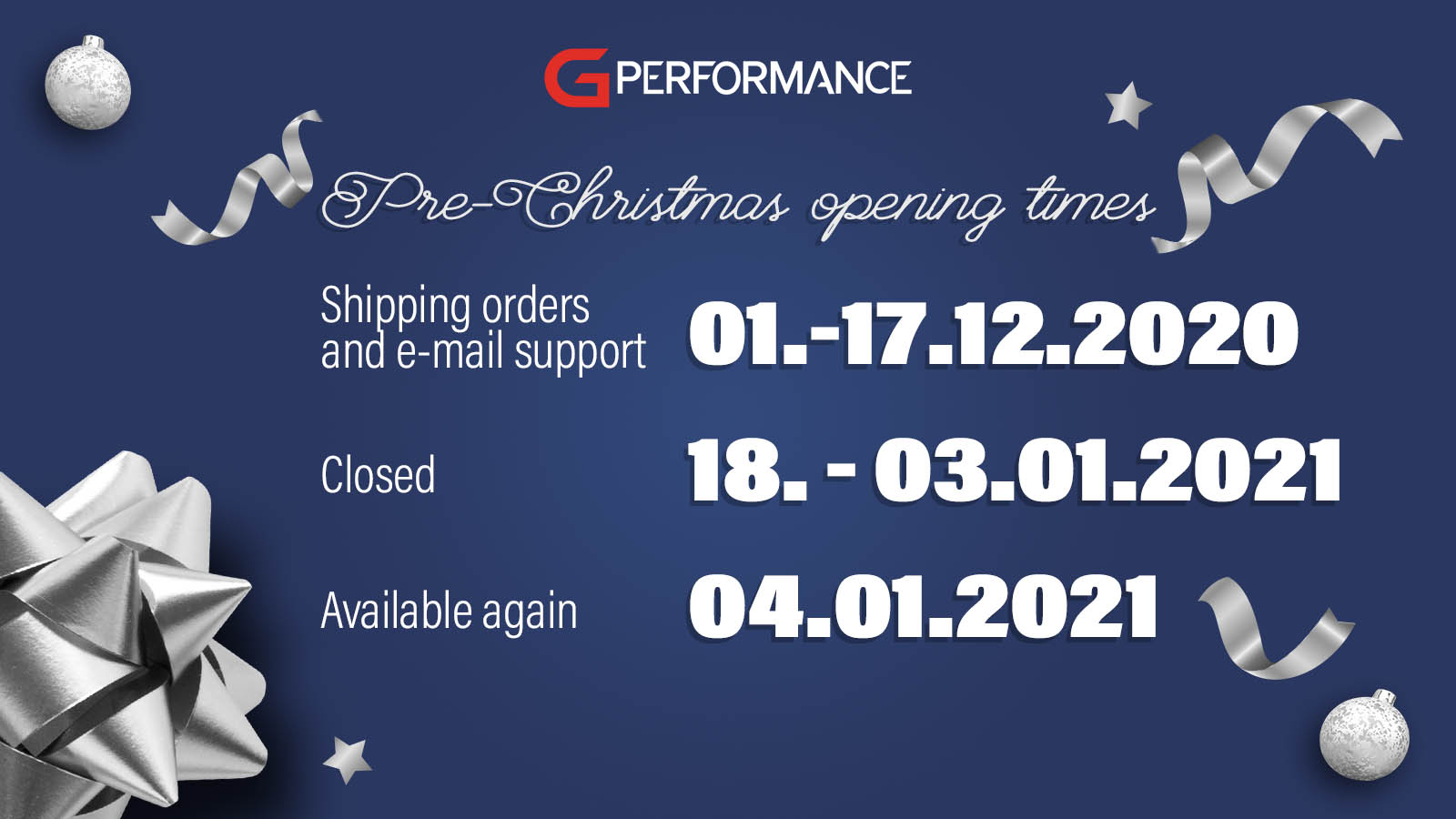 Christmas opening times - G-Performance